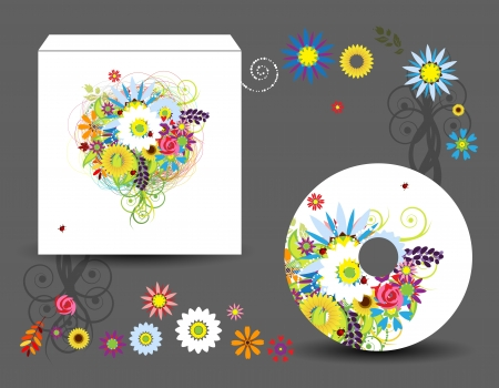 Envelope and cd cover, floral style for your design Vector