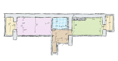 dimensions: Plan of apartment with dimensions, hand drawn sketch  Illustration