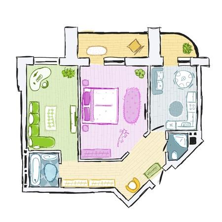 Schets van design interieur appartement