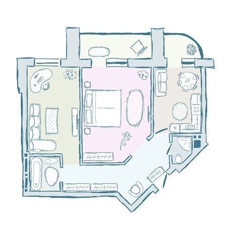 apartment abstract: Sketch of design interior apartment