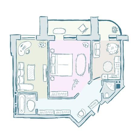 black floor: Sketch of design interior apartment
