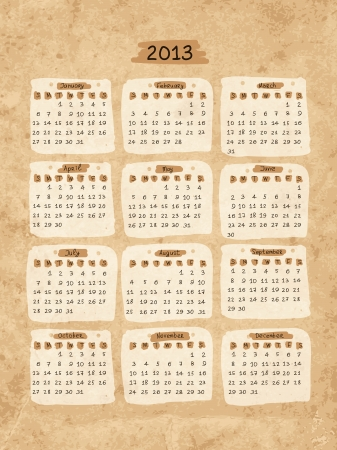 Calendar 2013 hand sketch on grunge old paper Vector