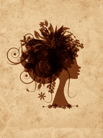Woman head with floral hairstyle on grunge old paper Vector