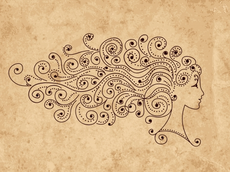 Abstract hairstyle, female head for your design Vector