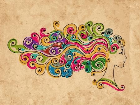 Peinado colorido abstracto, cabeza de mujer para su diseño