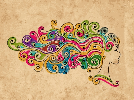 hair spa: Peinado colorido abstracto, cabeza de mujer para su dise�o
