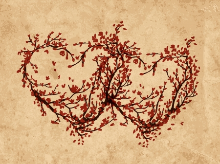 Two hearts made from sakura tree on grunge old paper Vector