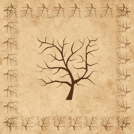 plats: Frame from tree branches on old grunge paper Illustration