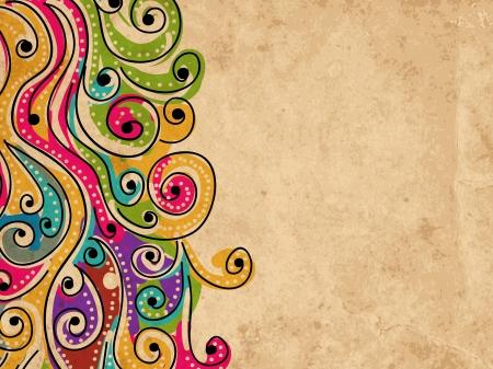 Wave hand getekende patroon voor uw ontwerp, abstract grunge achtergrond Stock Illustratie
