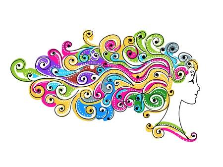 visage femme profil: Résumé coiffure coloré, tête de femme pour votre conception