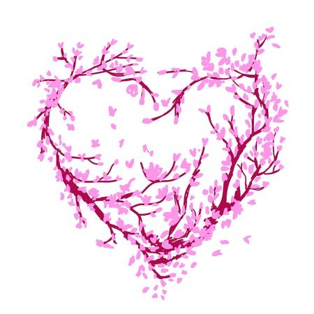 Forma de corazón hecha de árbol de sakura para su diseño