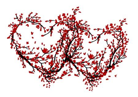 sakuras: Dos corazones hechos de �rbol de cerezo para su dise�o