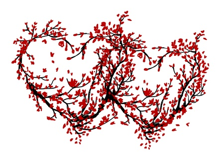 Two hearts made from sakura tree for your design Vector