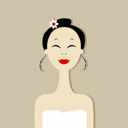 Pretty woman portrait, spa salon Vector
