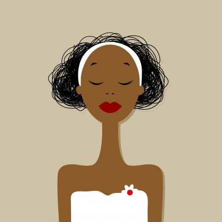 Pretty woman portrait, spa salon