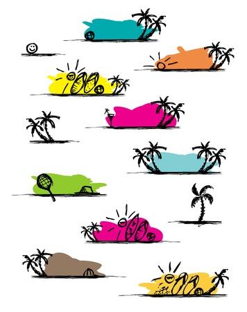sandal tree: Set of summer frames for your design Illustration