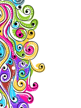 curly: Wave hand drawn pattern for your design, abstract background