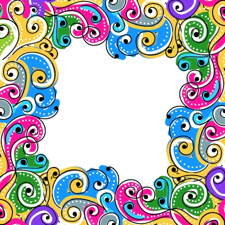 wallpaper doodle: Wave hand drawn frame for your design, abstract background Illustration