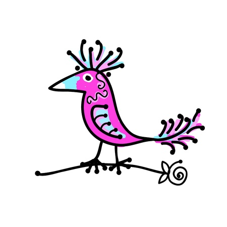 tweet: Sketch of funny colorful bird for your design