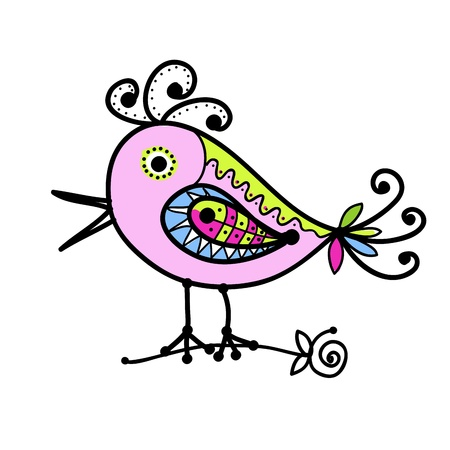 birds eye: Sketch of funny colorful bird for your design