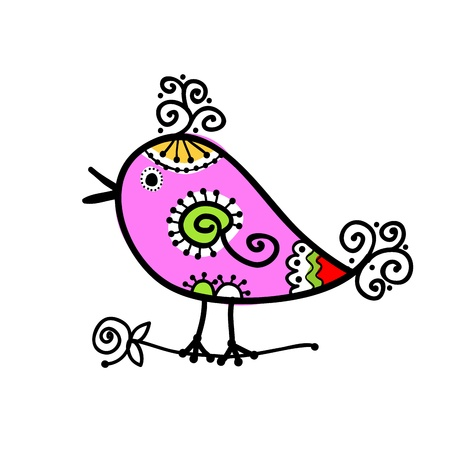 fowl: Sketch of funny colorful bird for your design