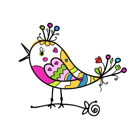 outline bird: Sketch of funny colorful bird for your design