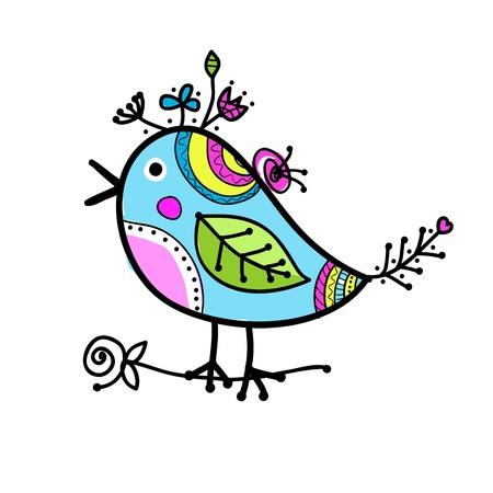 cartoon bird: Sketch of funny colorful bird for your design