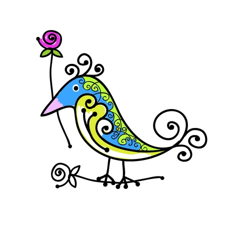 Sketch of funny colorful bird for your design Stock Vector - 15478166
