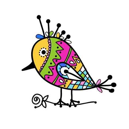 Sketch of funny colorful bird for your design Vector