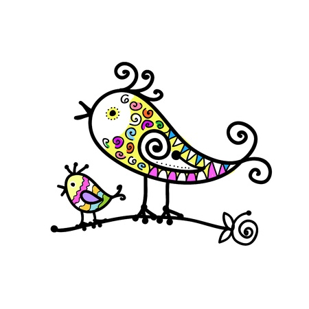 Sketch of funny colorful bird for your design Stock Vector - 15478168