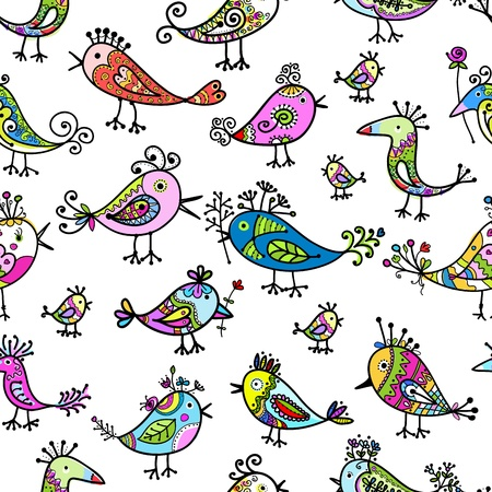 Funny colorful birds, seamless pattern for your design Vector