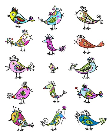 sketch child: Set of funny colorful birds for your design