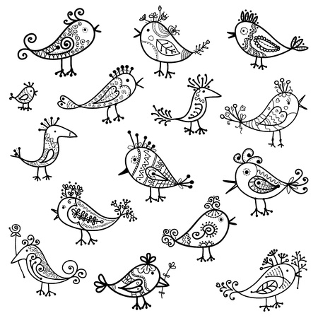 outline drawing: Set of funny birds for your design