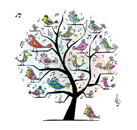 fowl: Funny tree with singing birds for your design