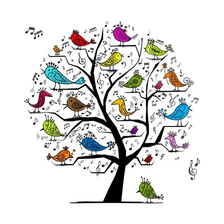 aves caricatura: Árbol divertido con el canto de los pájaros para su diseño Vectores