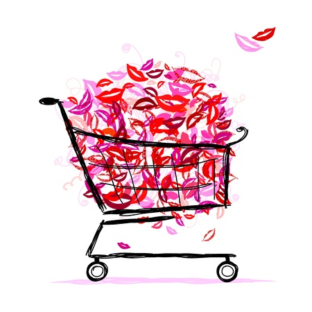 Shopping basket with lips for your design Vector