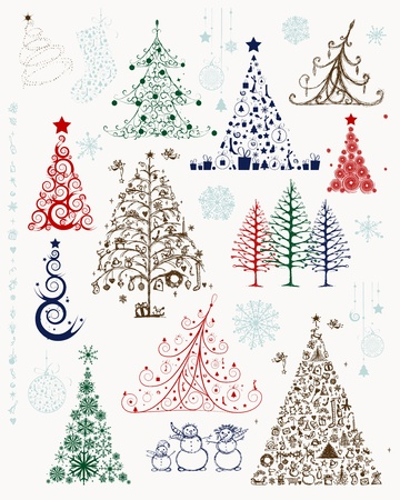 christmas tree set: Set of christmas trees and decorations for your design