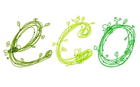 �cologie: Concept vert �cologie main la conception, �tabli Illustration