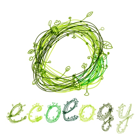 Green ecology concept, hand drawn design Vector