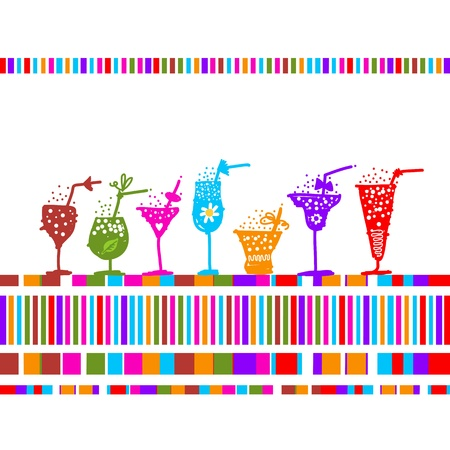Set of glasses with cocktails for your design Vector