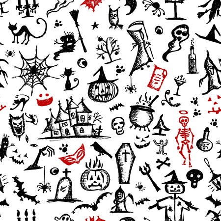 Halloween hand drawn pattern for your design Vector