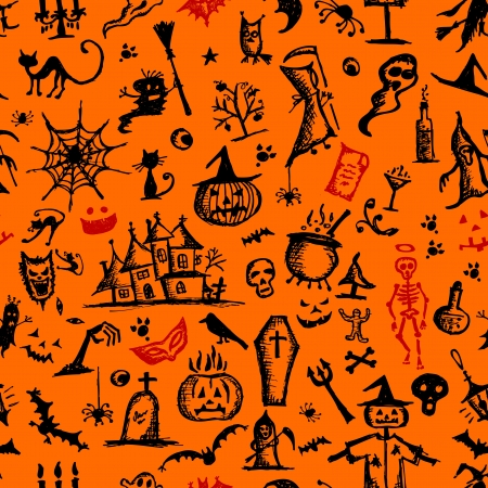 Halloween hand drawn pattern for your design Stock Vector - 15478188
