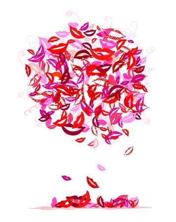 Cloud of kisses with lips and smiles for your design Vector