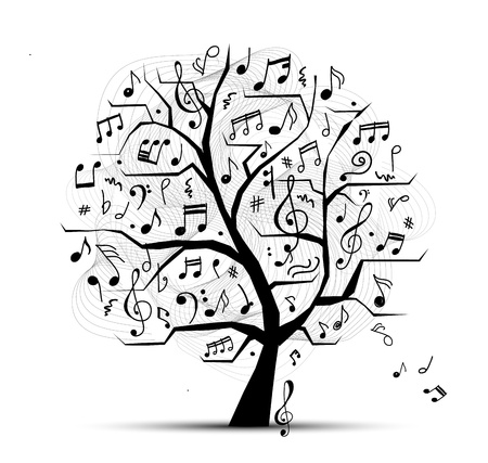vintage music background: Abstract musical tree for your design