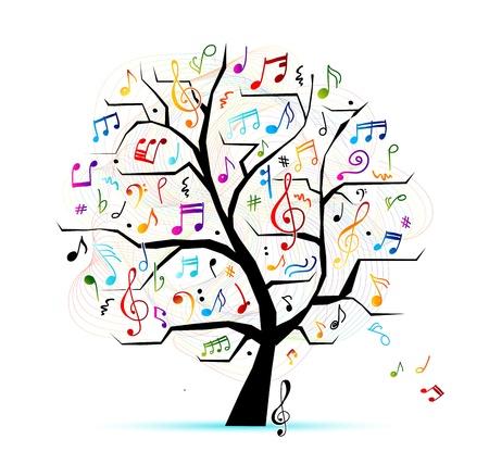 arboles blanco y negro: �rbol abstracto musical para su dise�o Vectores