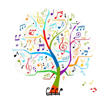 retro music: Abstract musical tree for your design