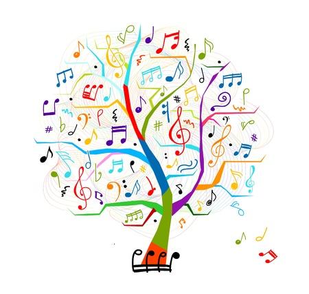 simbolos musicales: �rbol abstracto musical para su dise�o Vectores