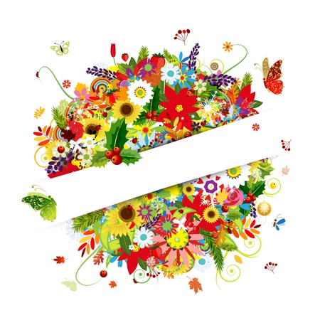 Gift card design with floral bouquet, four seasons  Vector