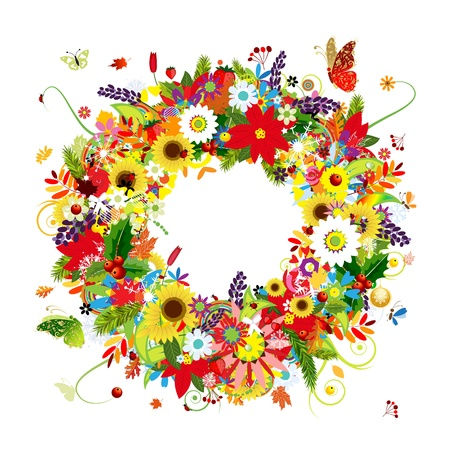 Four seasons, floral wreath for your design Illustration
