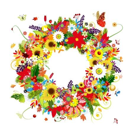 pine fruit: Four seasons, floral wreath for your design Illustration